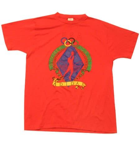 [古着/USED] 80's アメリカ製 ロサンゼルスオリンピックモデル アディダス Tシャツ