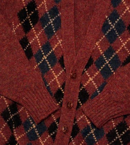[古着/USED] 80's スコットランド製 アーガイル柄 シェットランドカーディガン