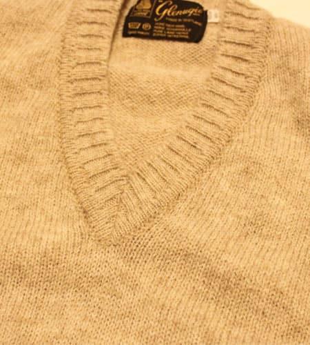 [古着/USED] 80's スコットランド製 オートミール グレニュギー Vネックセーター