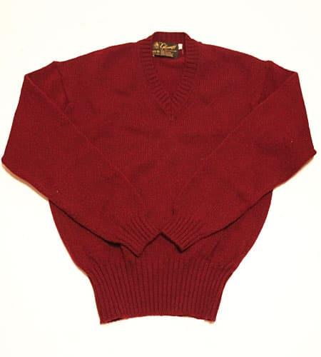 [古着/USED] 80's スコットランド製 バーガンディ グレニュギー Vネックセーター
