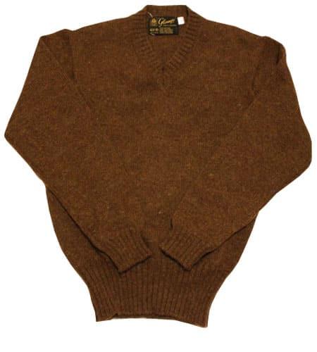 [古着/USED] 80's スコットランド製 ブラウン グレニュギー Vネックセーター